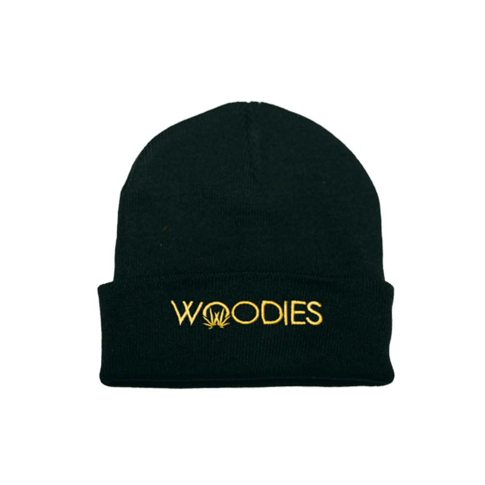 woodies beanie text logo