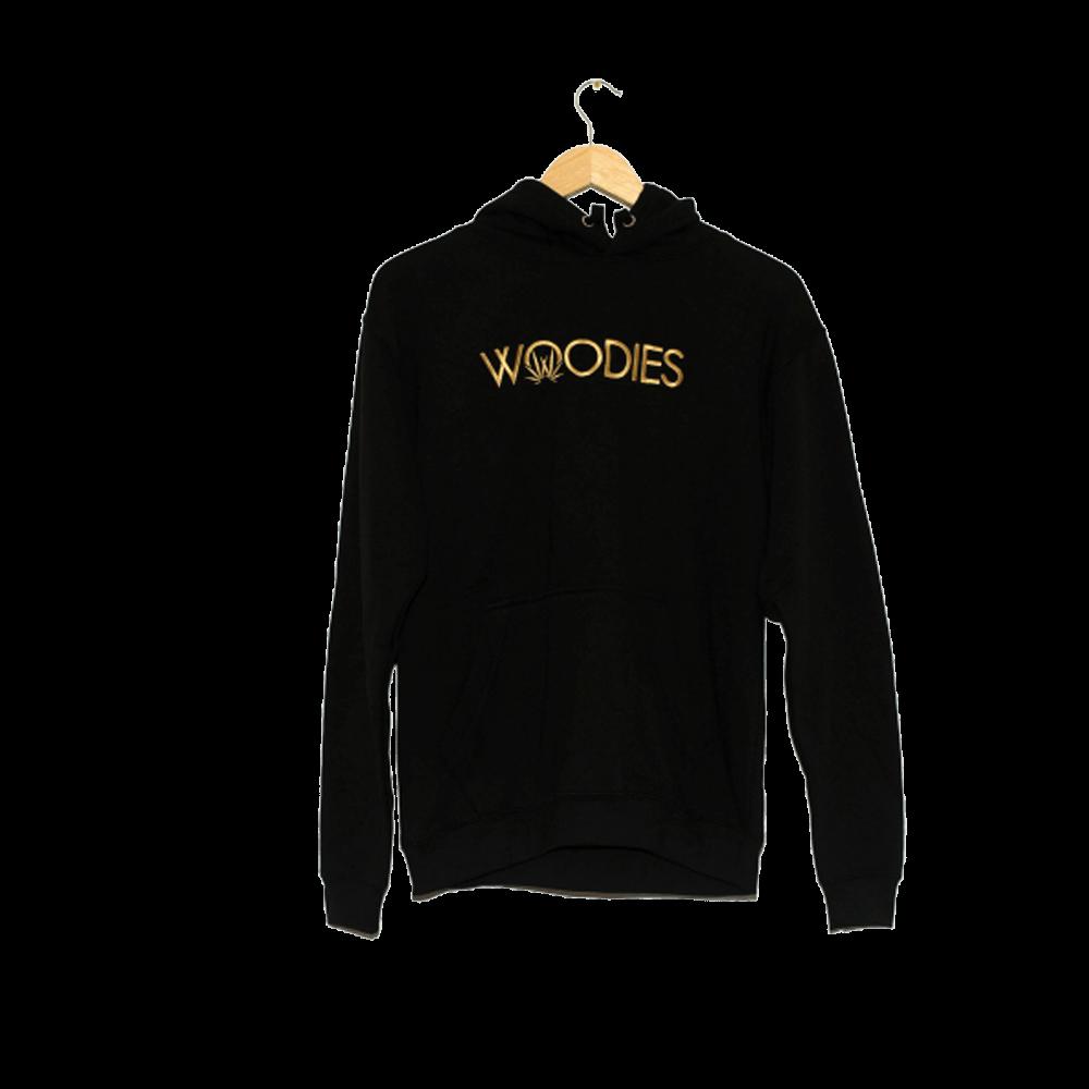 woodies hoodie text logo
