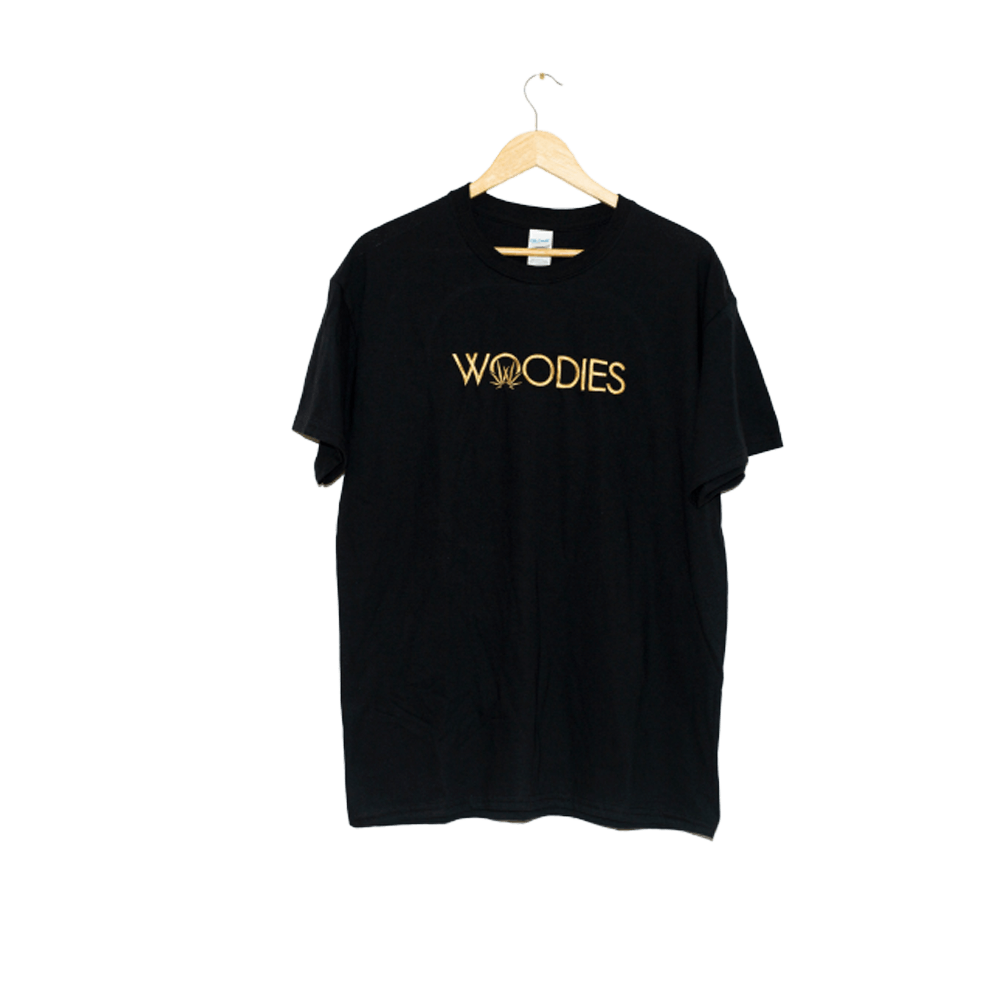 woodies tee text logo